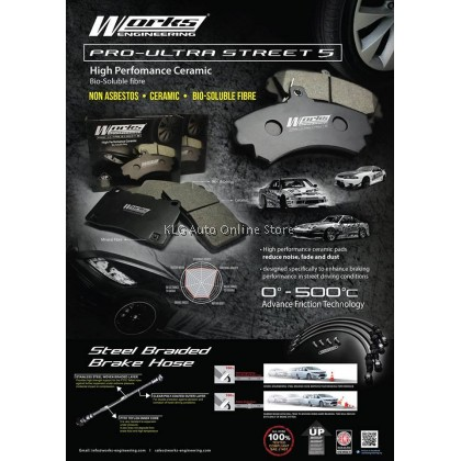 Works Brake Pad - Camry 2.0 / 2.4 Wish ZNE10G 14G 0° - 500°